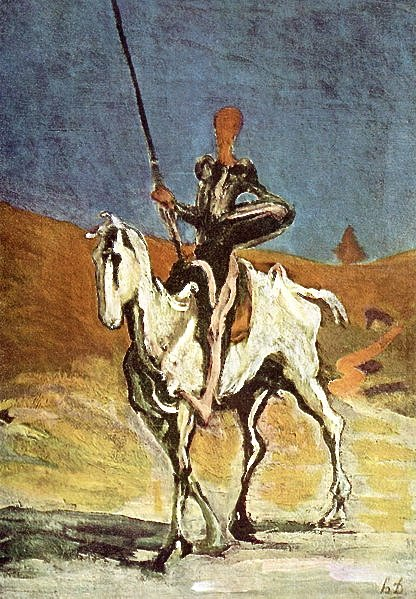 Don Quixote, the famous gentleman of la Mancha, painted by Honoré Daumier