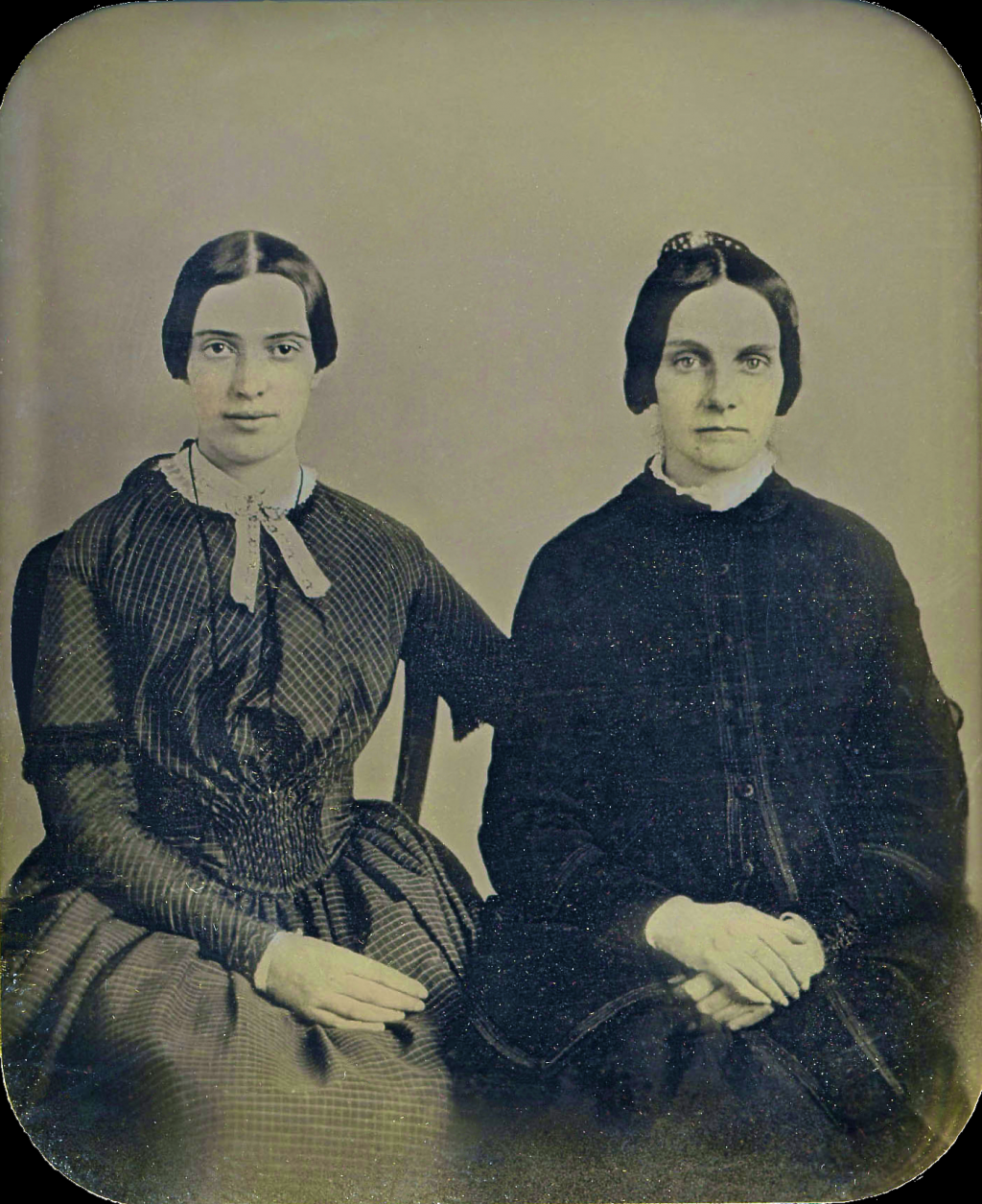 If the woman on the left is in fact Emily Dickinson, then this daguerreotype captures her at the height of her powers
